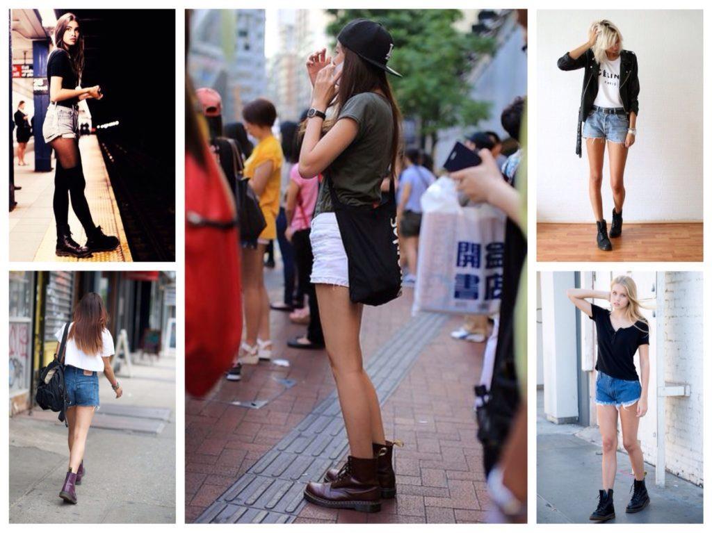 Грубые ботинки и джинсовые шорты - отличный вариант на прохладную погоду