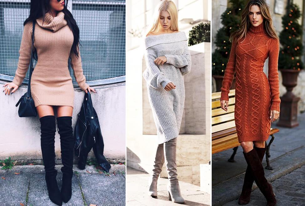 Эффектный наряд для зимы - высокое голенище и вязанное платье