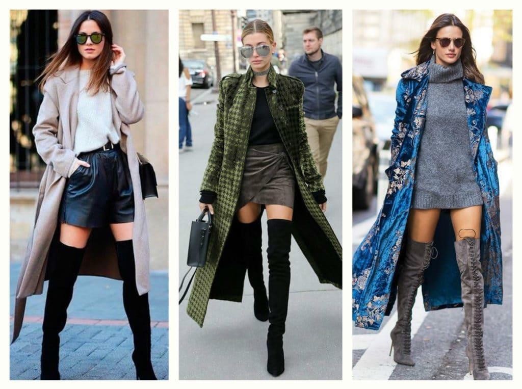 Шорты, мини-юбки, леггинсы, джинсы skinny, большие свитера и облегающие платья прекрасно дополнят такую пару
