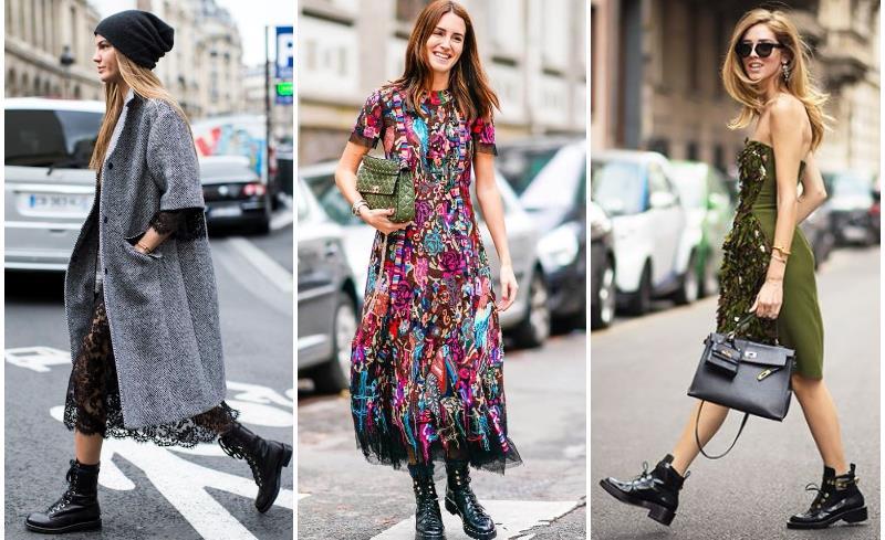 Беспроигрышное сочетание брутальности и женственности: легкое летнее платье макси и миди длины и модных сапог в стиле милитари