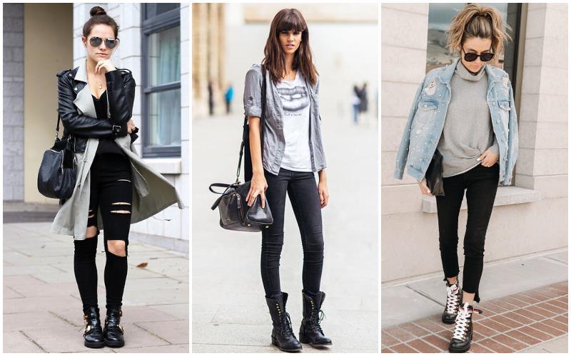 Универсальный вариант: сочетание черных джинс, кожаной куртки с белой футболкой и обуви в стиле милитари