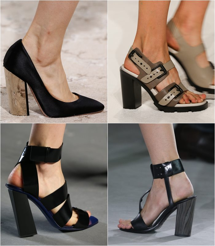 Несколько моделей в разной стилистике объединены одним общим элементом – устойчивым каблуком прямоугольной формы