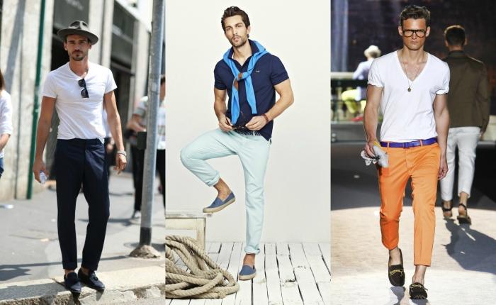 К мокасинам можно выбрать летние укороченные или подвернутые варианты брюк