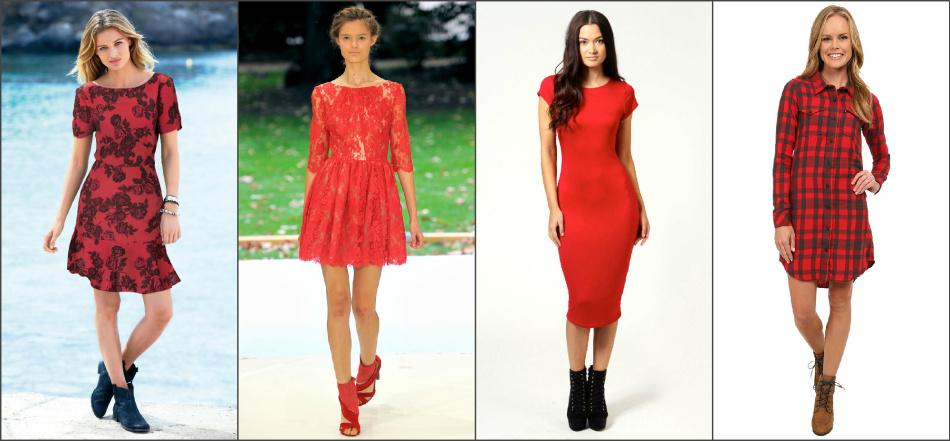 Варианты повседневных луков с красными платьями и удобной обувью.