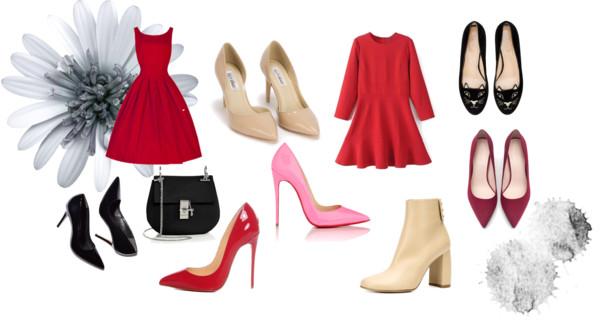 Красное платье почти универсально, его можно сочетать с десятками различных вариантов обуви и получать неповторимые образы.