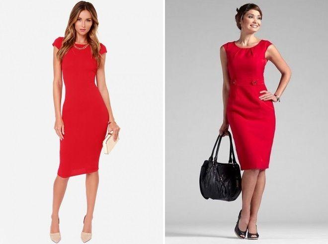 Красное платье футляр одинаково элегантно смотрится с нюдовой и черной обувью.
