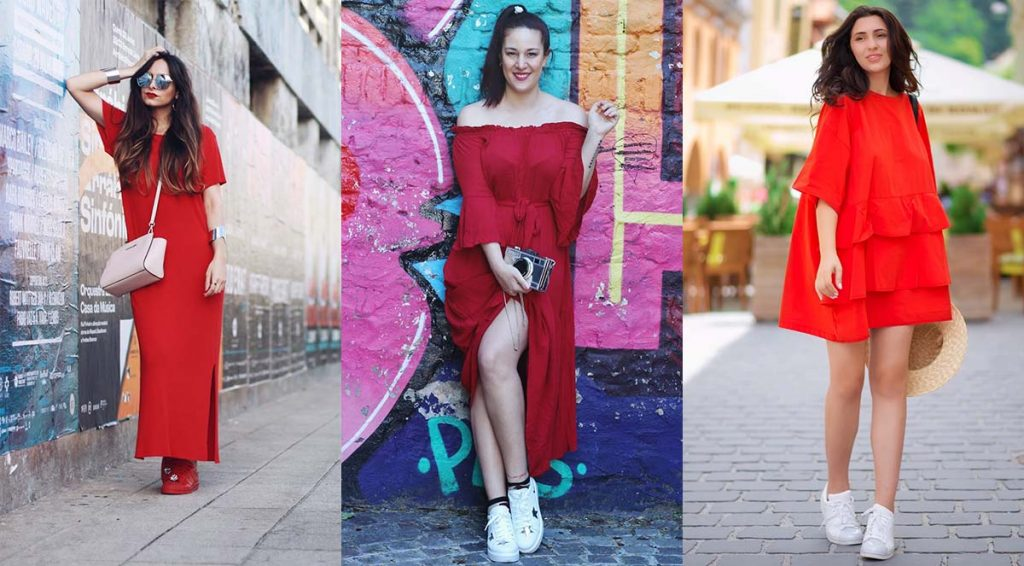 Красное платье идеально смотрится с белыми или красными кроссовками.