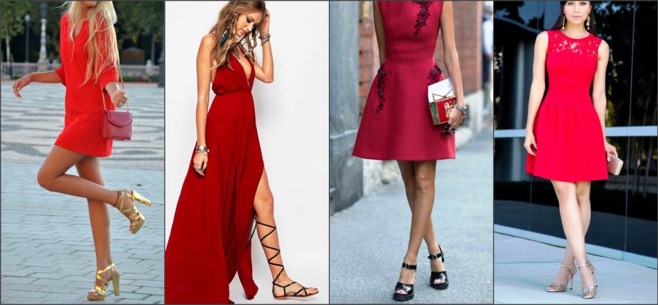 Красное платье отлично смотрится с различными вариантами и оттенками босоножек.