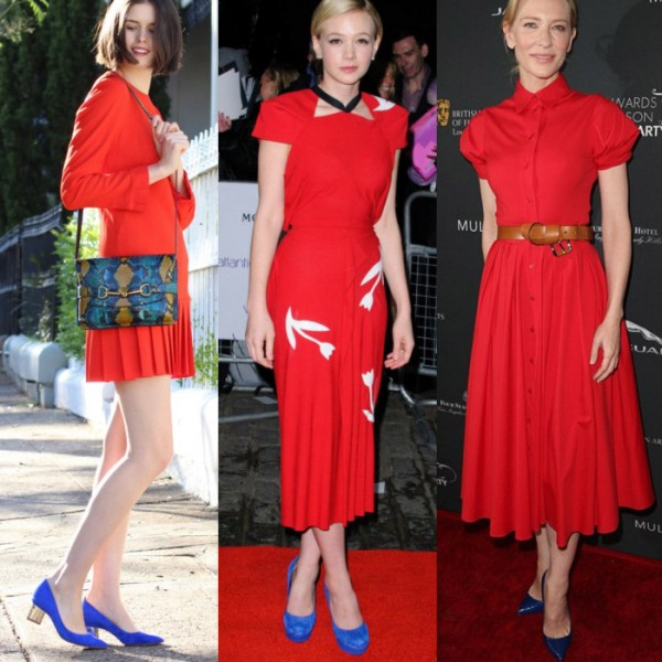 Эффектные сочетания красного платья с синими туфлями.