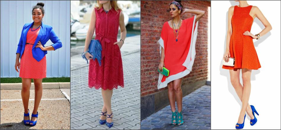 Модные красно-синие ансамбли.