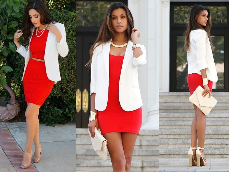 Бежевые босоножки  всегда прекрасно дополнят красное платье мини.