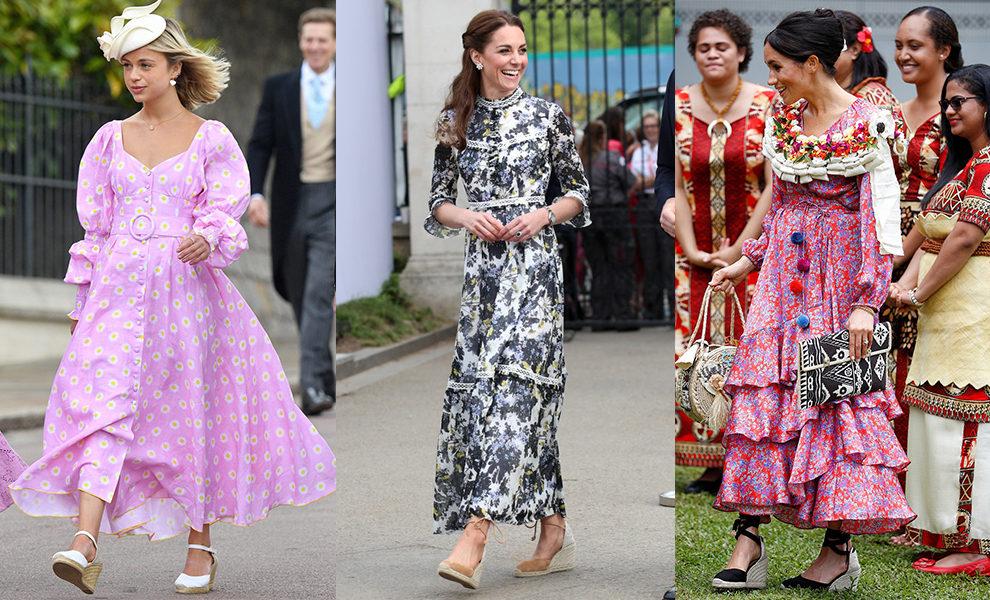 Королевские образы с макси-платьями и босоножками на танкетке.