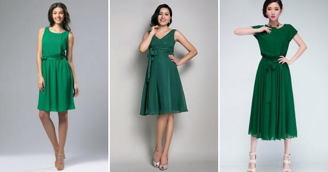 Зеленые платья отлично сочетаются с босоножками нюдовых оттенков.