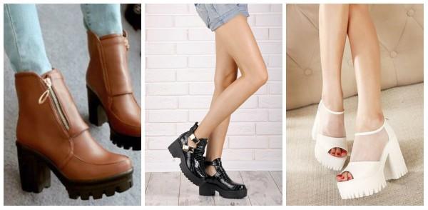 Обувь на тракторной подошве разнообразна и отличается эффектностью.