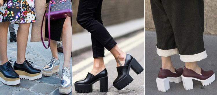 Туфли на тракторной подошве одинаково эффектно выглядят с каблуком и без.