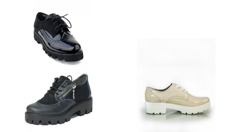 Туфли на тракторной подошве выполняются в разных стилях, в том числе в виде лоферов и оксфордов.