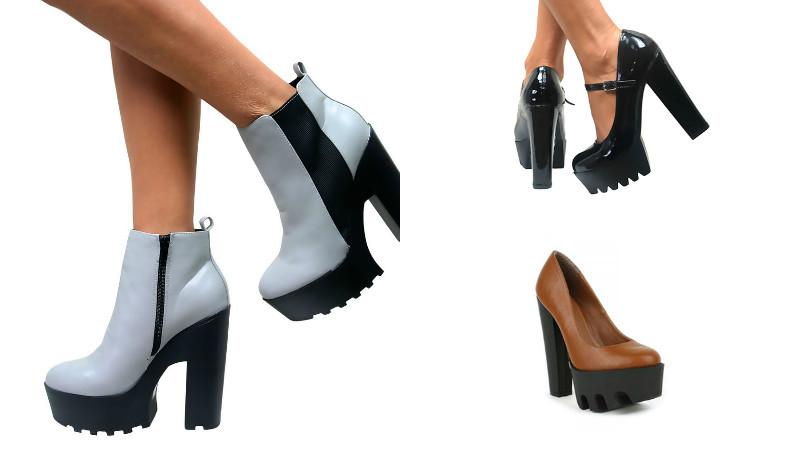 Обувь на тракторной подошве сочетает черты разных стилей, но всегда выглядит броско.
