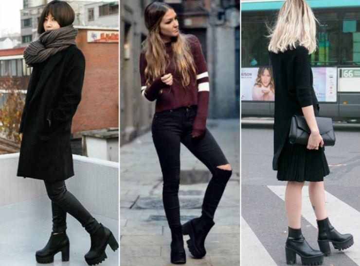 Классические варианты черных ботинок на каблуке.