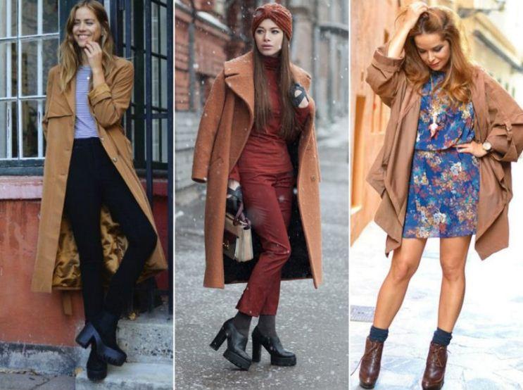 Ботинки на рифленой подошве отлично смотрятся в сочетании с классическим коричневым пальто или плащом.