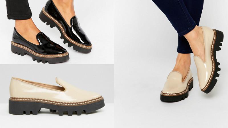 Эффектные туфли на рифленой подошве без каблука.