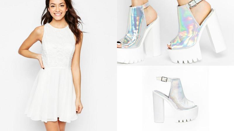 Романтичное летнее сочетание белого платья и босоножек на каблуке.