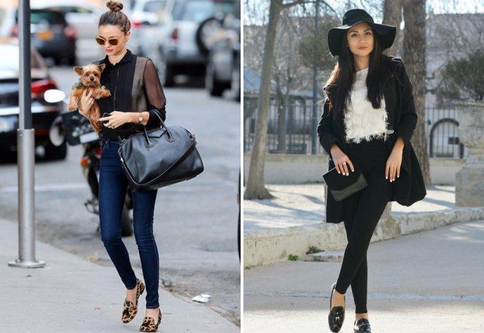 Узкие туфли и удобные брюки без каблука - идеальная пара.