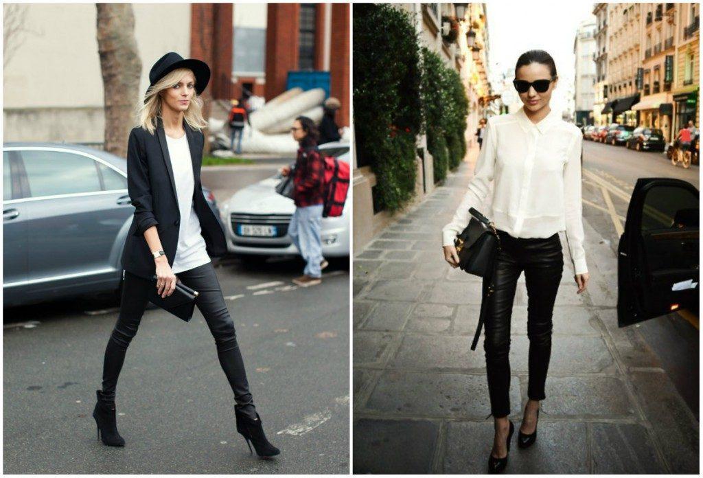 Кожаные брюки идеально смотрятся с черной обувью на каблуке.