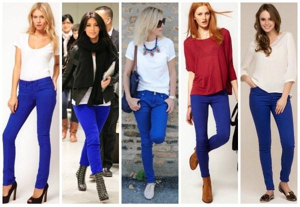Синие брюки позволяют различные цветовые сочетания с обувью.
