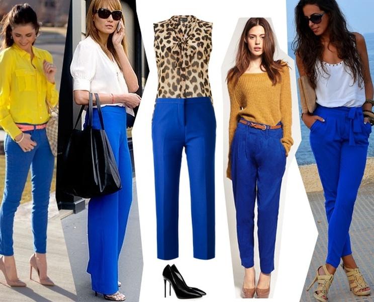 Синие брюки хороши как со светлой, так и с темной обувью.