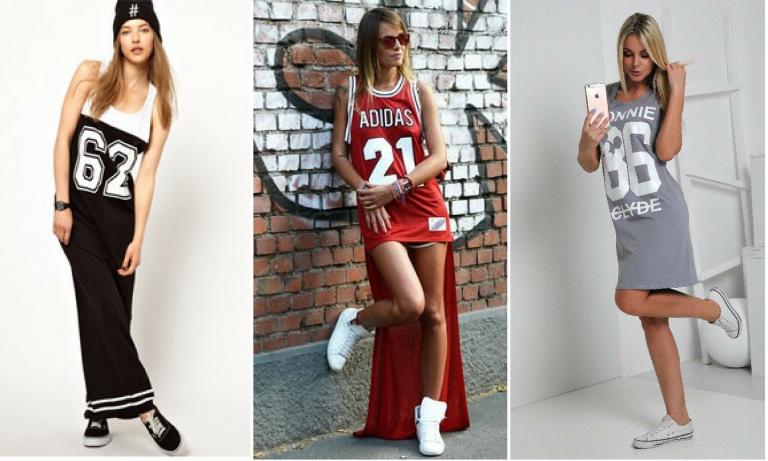 Спортивное платье в паре со спортивными кроссовками - идеальное сочетание.