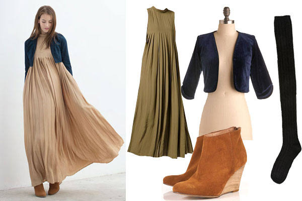 Неординарный образ из легкого платья и ботильонов выглядит экстравагантно.