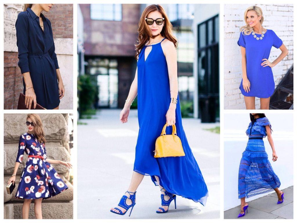 Босоножки под цвет платья дополнены оранжевой сумочкой и солнцезащитными очками. Ультрамариновые мюли справа хорошо освежают лук.