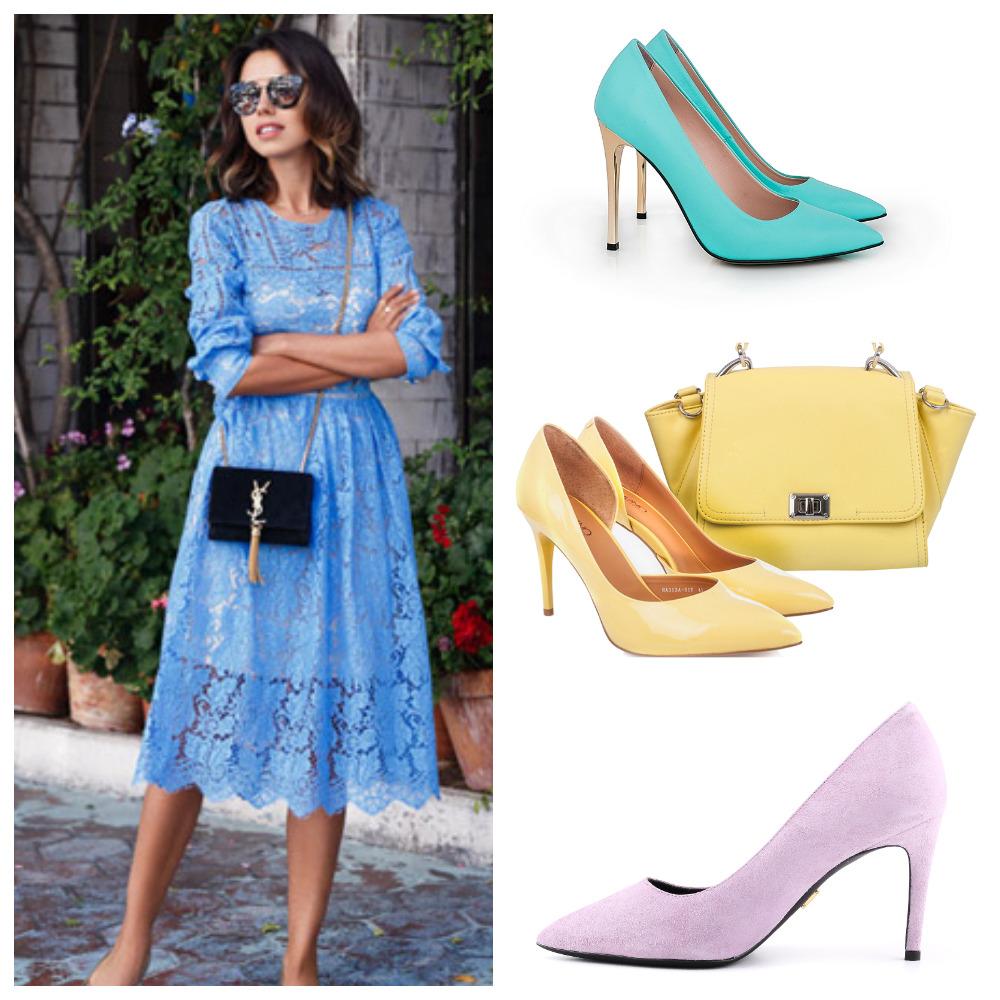 Кружевное платье холодного оттенка хорошо сочетается с мятными, лимонными и сиреневыми туфлями.