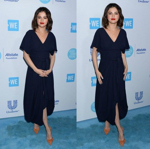 К черно-синему платью Селена Гомес надела рыжие лодочки с открытыми боками и геометричным каблуком, который лучше виден на фото ниже.