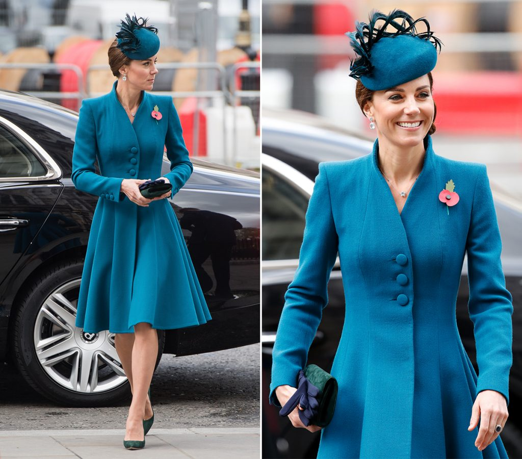 Кейт Миддлтон в платье-пальто и лодочках изумрудного цвета как всегда прекрасна.