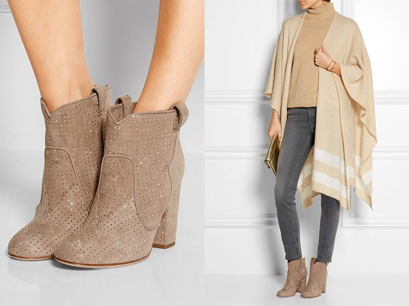 Серо-бежевые ботинки хорошо сочетаются с темно-серыми джинсами, водолазкой и шалью пастельных тонов.