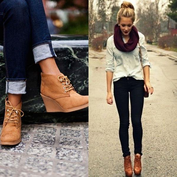 В межсезонье можно сочетать обувь цвета оранжевый беж, джинсы, блузу и шарф.