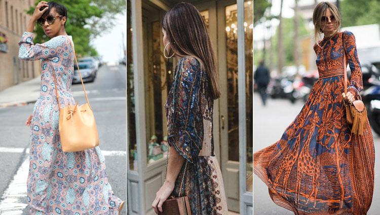 Воздушные платья с оригинальным принтом и элегантные сумочки — городской вариант стиля бохо. К ним наденьте ботинки с бахромой, как показано на нижнем фото.