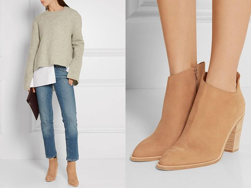 Персиково-бежевые ботинки, синие джинсы и свитер нейтрального цвета создают гармонию.