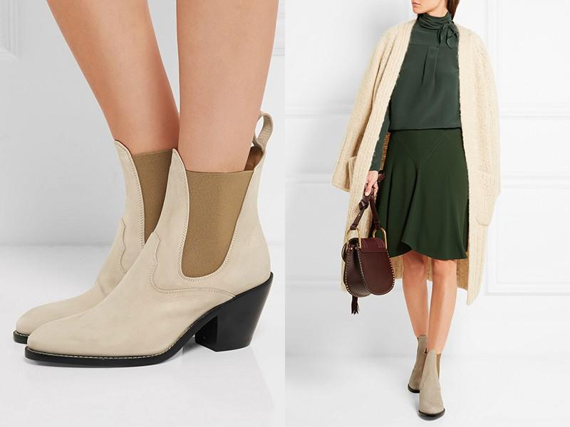 Обувь серо-бежевого оттенка можно надеть с темно-оливковой юбкой, серо-зеленой блузой и кардиганом.