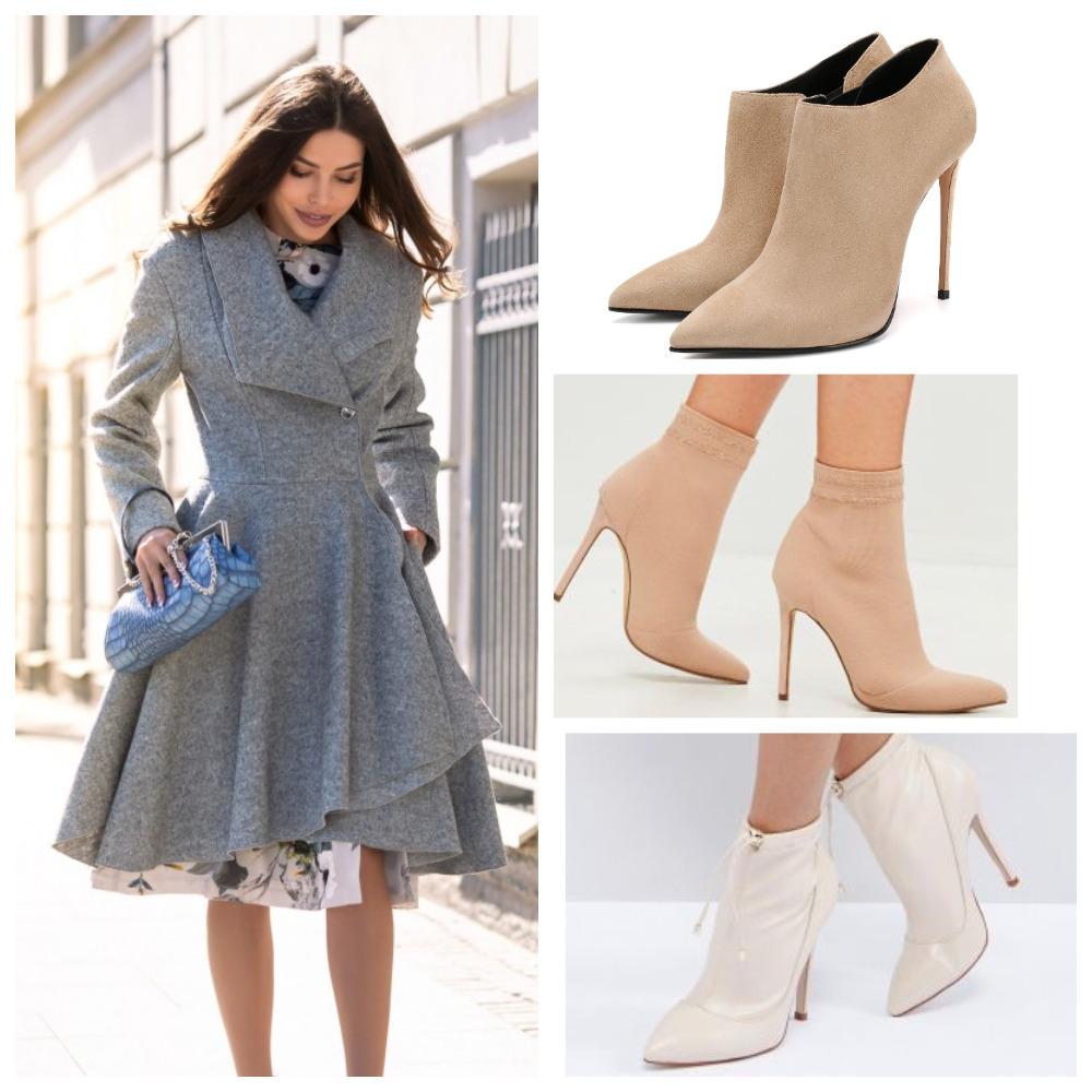 Бежевые ботинки на шпильке и серое платье-пальто — женственно и элегантно.