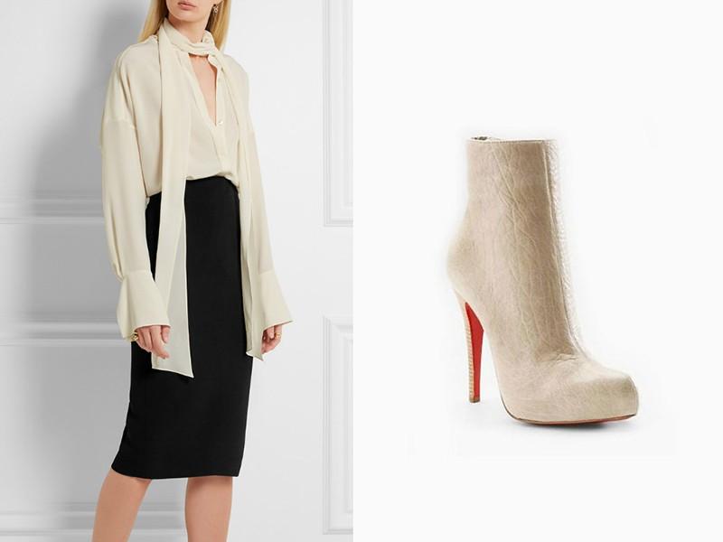 Шпилька, блуза молочного цвета и черная юбка-карандаш — стильный офисный лук.