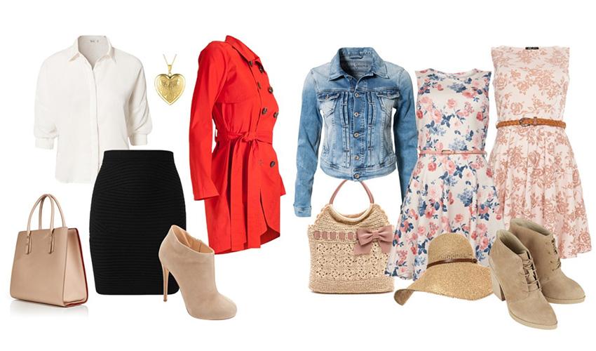 Ботинки на шпильке, темная юбка, блуза и красный тренч идеальны для делового ужина. Обувь на устойчивом каблуке с платьем и шляпой — аутфит для прогулки.