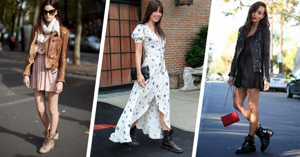 Ботинки со шнуровкой прекрасно сочетаются с платьями разной длины.