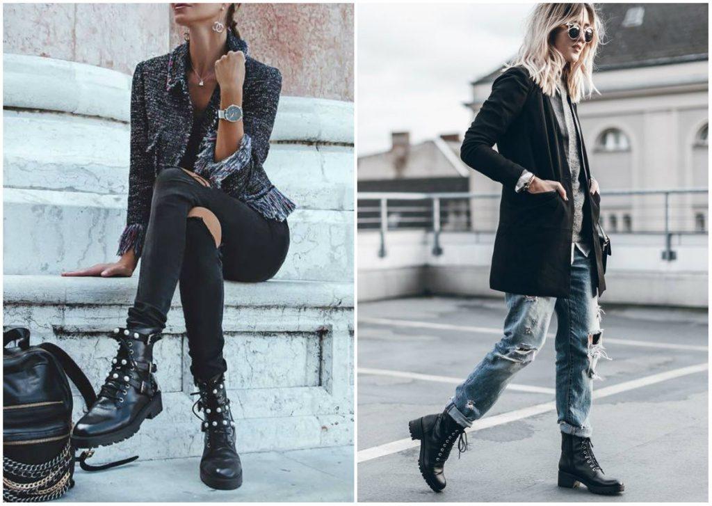 Рваные джинсы или брюки будут смотреться эффектнее в сочетании с грубыми ботинками.