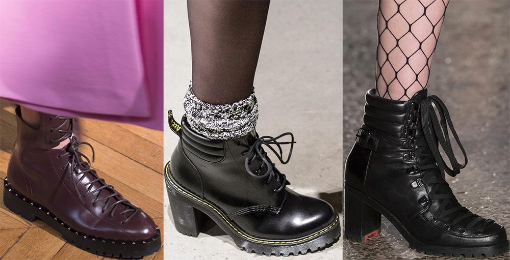 Разнообразные ботинки на шнуровке - модная находка сезона.