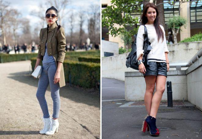 Ботинки на толстом каблуке всегда прекрасно подчеркивают длину ног.