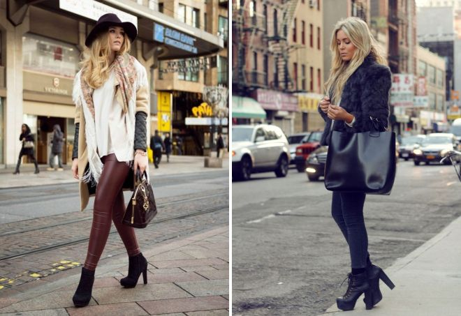 Зауженные брюки и ботинки на каблуке сделают девушку визуально выше и стройнее.