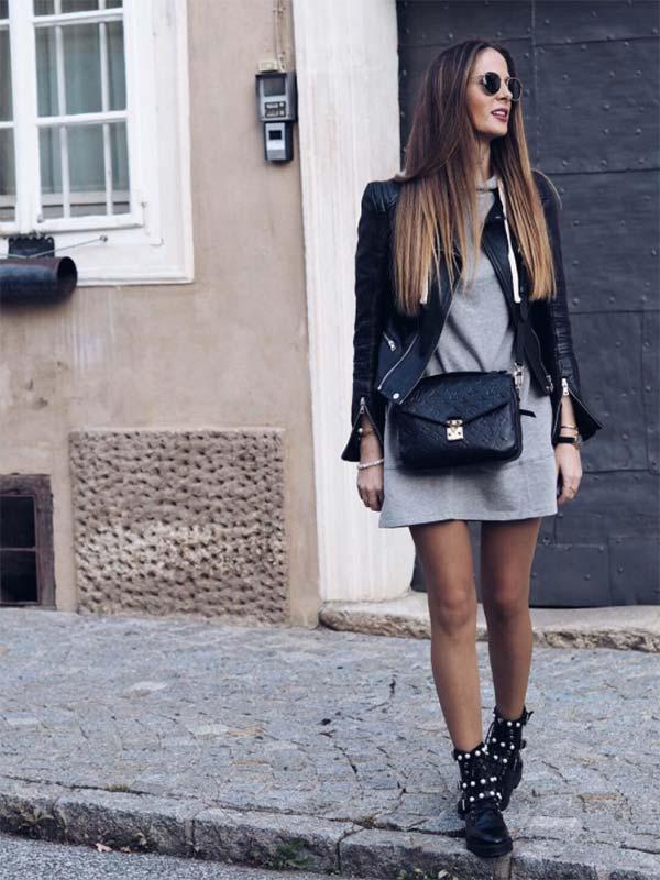 Романтичный лук в серо-черной гамме с ботинками.