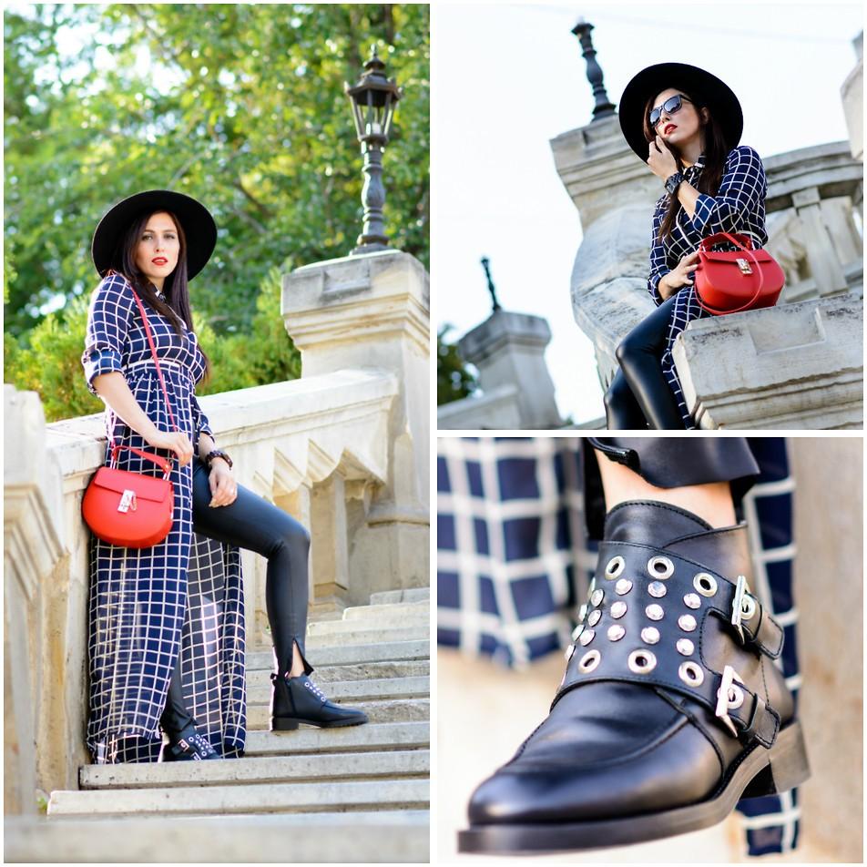 Женственный и стильный лук с рокерскими ботинками.